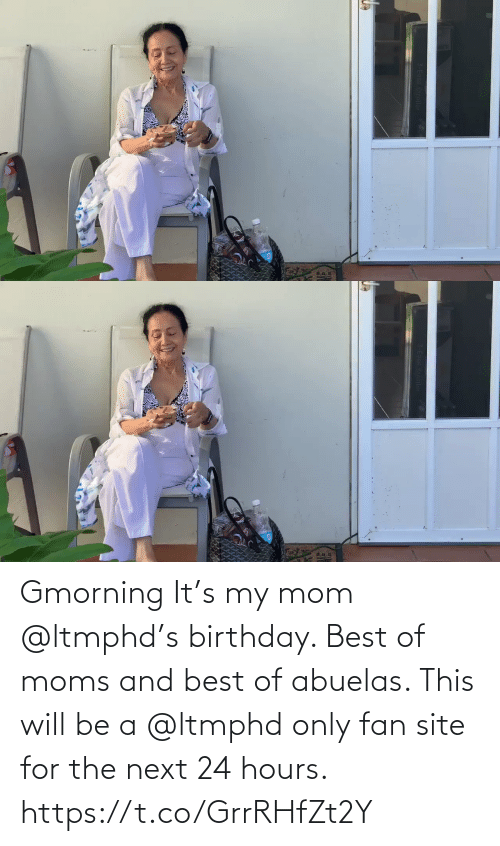 Birthday: Gmorning  It's my mom @ltmphd's birthday.  Best of moms and best of abuelas.  This will be a @ltmphd only fan site for the next 24 hours. https://t.co/GrrRHfZt2Y
