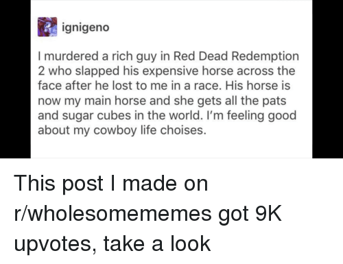 Life, Lost, and Good: gnigeno  I murdered a rich guy in Red Dead Redemption  2 who slapped his expensive horse across the  face after he lost to me in a race. His horse is  now my main horse and she gets all the pats  and sugar cubes in the world. I'm feeling good  about my cowboy life choises