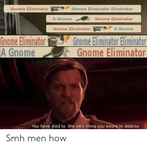 Smh, How, and Gnome: Gnome EliminatorGnome Eliminator Eliminator  A GnomeGnome Eliminator  Gnome EliminatorA Gnome  Gnome Eliminator Gnome Eliminator Eliminator  A GnomeGnome Eliminator  You have died to the very thing you swore to destroy Smh men how