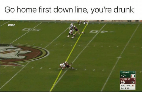 Drunk, Nfl, and Florida: Go home first down line, you're drunk  13 Miami 30  17  Florida St 1-2  20  4th 1:09 40  3rd & 10