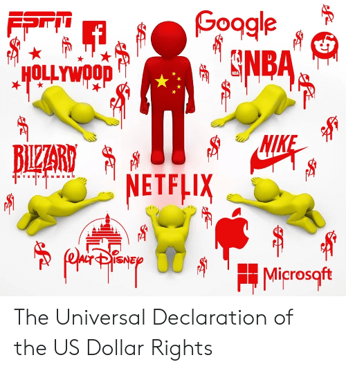 Netflix, Hollywood, and Us Dollar: Goagle  SNBA  FPri  HOLLYWOOD  NIK  NETFLIX  BILZZART  ENTERTAN MENT  Microsqft  ধ The Universal Declaration of the US Dollar Rights
