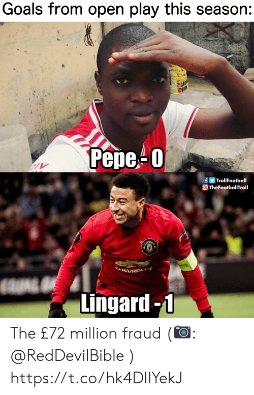 Goals, Memes, and 🤖: Goals from open play this season:  UITR  Рере-0  fTrollFootball  TheFootballTroll  SHEVRD  Lingard-1 The £72 million fraud (📷: @RedDevilBible ) https://t.co/hk4DIIYekJ