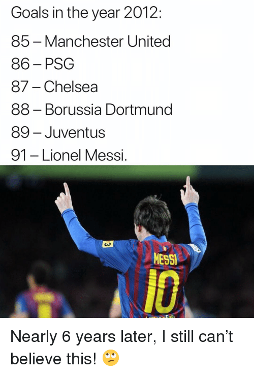 Chelsea, Goals, and Memes: Goals in the year 2012:  85 -Manchester United  86-PSG  87- Chelsea  88 - Borussia Dortmund  89- Juventus  91 -Lionel Messi  MESSI  A10 Nearly 6 years later, I still can't believe this! 🙄