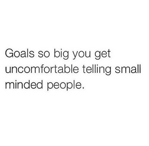 Goals, Big, and You: Goals so big you get  uncomfortable telling small  minded people.