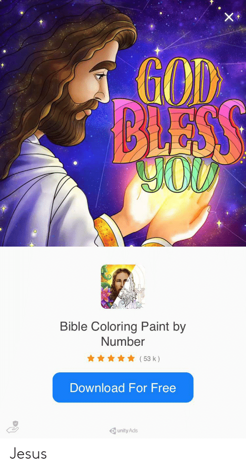 Bible Coloring: GOD  BLESS  YOD  Bible Coloring Paint by  Number  (53 k)  Download For Free Jesus