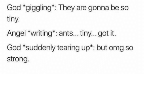 God, Omg, and Angel: God *giggling*: They are gonna be so  tiny.  Angel *writing*: ants... tiny... got it.  God 'suddenly tearing up: but omg so  strong
