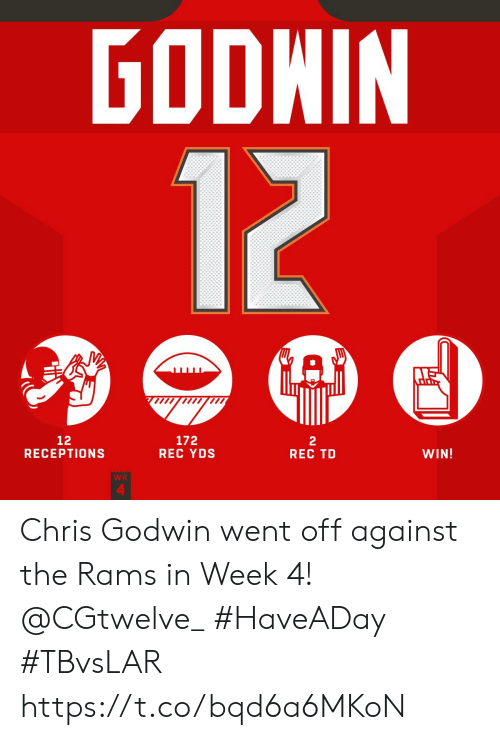 Memes, Rams, and 🤖: GODWIN  12  A  12  RECEPTIONS  172  REC YDS  2  REC TD  WIN!  WK  4 Chris Godwin went off against the Rams in Week 4! @CGtwelve_   #HaveADay #TBvsLAR https://t.co/bqd6a6MKoN