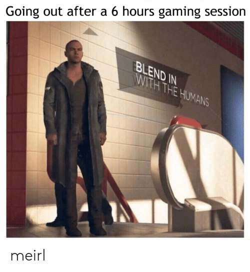 Gaming: Going out after a 6 hours gaming session  BLEND IN  WITH THE HUMANS meirl