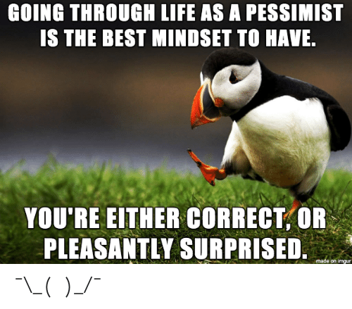 Life, Best, and Imgur: GOING THROUGH LIFE AS A PESSIMIST  IS THE BEST MINDSET TO HAVE  YOU'RE EITHER CORRECT,OR  PLEASANTLY SURPRISED  e on imgur ¯\_(ツ)_/¯
