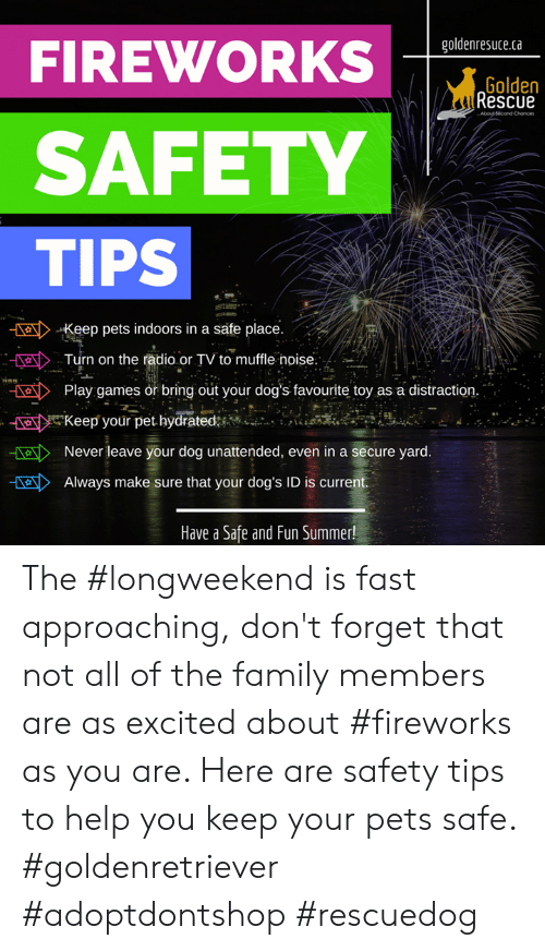 """Dogs, Family, and Memes: goldenresuce.ca  FIREWORKS  Golden  Rescue  Abous Second  SAFETY  TIPS  alKeep pets indoors in a safe place.  Turn on the radio or TV to mufe noise.  055  Play games or bring out your dog's favourite toy as a distraction.  ansi ..  画 e Keep your pet hydrated:iMoi  """"  ..  :,""""  ENever leave your dog unattended, even in a secure yard.  Always make sure that your dog's ID is current  Have a Safe and Fun Summer! The #longweekend is fast approaching, don't forget that not all of the family members are as excited about #fireworks as you are. Here are safety tips to help you keep your pets safe.  #goldenretriever #adoptdontshop #rescuedog"""
