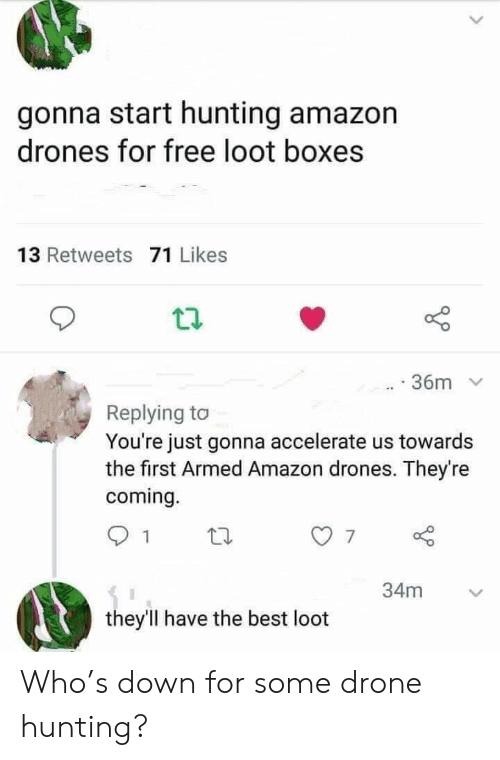 Boxes: gonna start hunting amazon  drones for free loot boxes  13 Retweets 71 Likes  36m  Replying to  You're just gonna accelerate us towards  the first Armed Amazon drones. They're  coming.  34m  they'll have the best loot Who's down for some drone hunting?