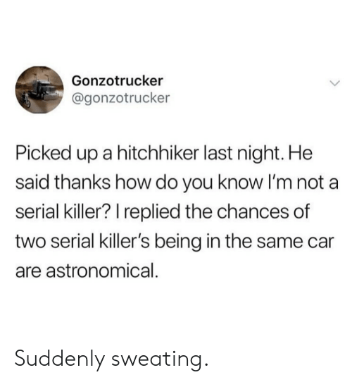 killers: Gonzotrucker  @gonzotrucker  Picked up a hitchhiker last night. He  said thanks how do you know I'm not a  serial killer? I replied the chances of  two serial killer's being in the same car  are astronomical. Suddenly sweating.
