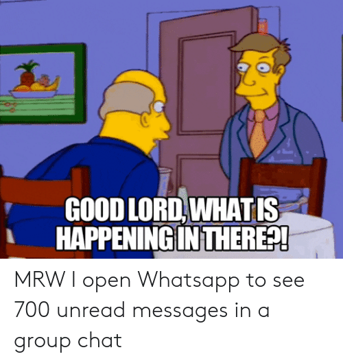 Good Lord Whatis Happening In There Mrw I Open Whatsapp To See 700 Unread Messages In A Group Chat Group Chat Meme On Awwmemes Com