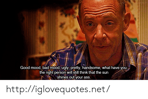 Ass, Bad, and Mood: Good mood, bad mood, ugly, pretty, handsome, what have you;  the right person will still think that the sur  shines out your ass. http://iglovequotes.net/