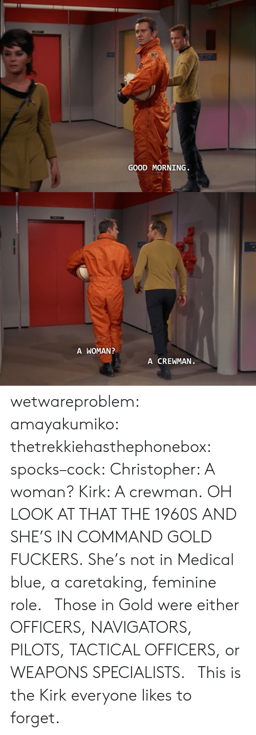 Pilots: GOOD MORNING   A WOMAN  A CREWMAN wetwareproblem:  amayakumiko:  thetrekkiehasthephonebox:  spocks–cock:  Christopher: A woman? Kirk: A crewman.  OH LOOK AT THAT THE 1960S  AND SHE'S IN COMMAND GOLD FUCKERS. She's not in Medical blue, a caretaking, feminine role.   Those in Gold were either OFFICERS, NAVIGATORS, PILOTS, TACTICAL OFFICERS, or WEAPONS SPECIALISTS.    This is the Kirk everyone likes to forget.