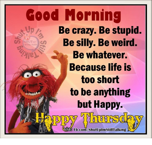 being silly: Good Morning  pa Be crazy. Be stupid.  Be silly. Be weird.  Be whatever.  Because life is  OO  too short  to be anything  but Happy  Via  Fb.com/ShutUplmStillTalking