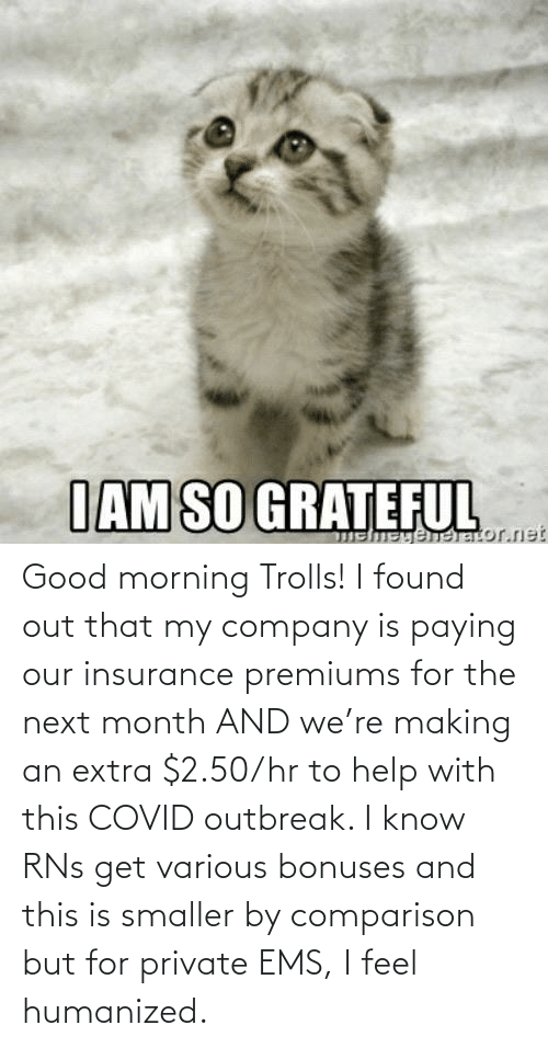 ems: Good morning Trolls! I found out that my company is paying our insurance premiums for the next month AND we're making an extra $2.50/hr to help with this COVID outbreak. I know RNs get various bonuses and this is smaller by comparison but for private EMS, I feel humanized.