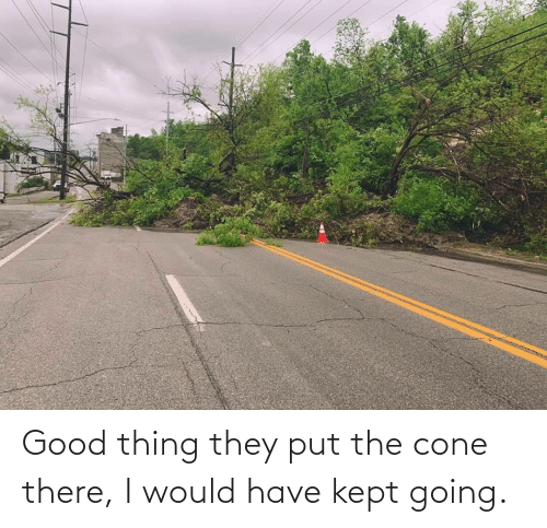 Good Thing: Good thing they put the cone there, I would have kept going.