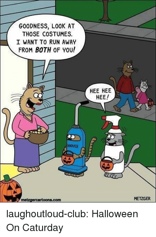 Caturday, Club, and Halloween: GOODNESS, LOOK AT  THOSE COSTUMES  I WANT TO RUN AWAY  FROM BOTH OF YOU!  HEE HEE  HEE  HOOVER  metzgercartoons.com  METZGER laughoutloud-club:  Halloween On Caturday