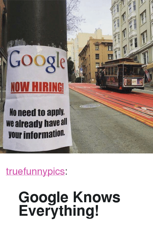 """Googe: Googe  NOW HIRING  No need to apply.  we already haveall  our information. <p><a href=""""https://truefunnypics.tumblr.com/post/164271733450/google-knows-everything"""" class=""""tumblr_blog"""">truefunnypics</a>:</p>  <blockquote><h2>Google Knows Everything!</h2></blockquote>"""
