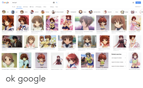 Google Best Girl Sign In Safesearch Q All Images Videos Shopping 回 News More Settings Tools Sad Transparent Shy Cute Anime Clannad Tomoya Tomoya Okazaki Happy Clannad Anime Long Hair Dress Dango