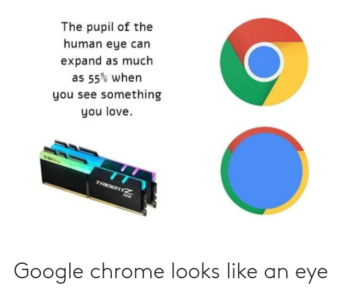 Looks Like: Google chrome looks like an eye