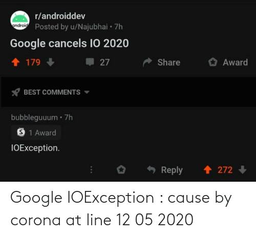 line: Google IOException : cause by corona at line 12 05 2020