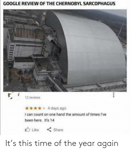 Reviews: GOOGLE REVIEW OF THE CHERNOBYL SARCOPHAGUS  12 reviews  **** 4 days ago  I can count on one hand the amount of times I've  been here. It's 14  IO Like  < Share It's this time of the year again