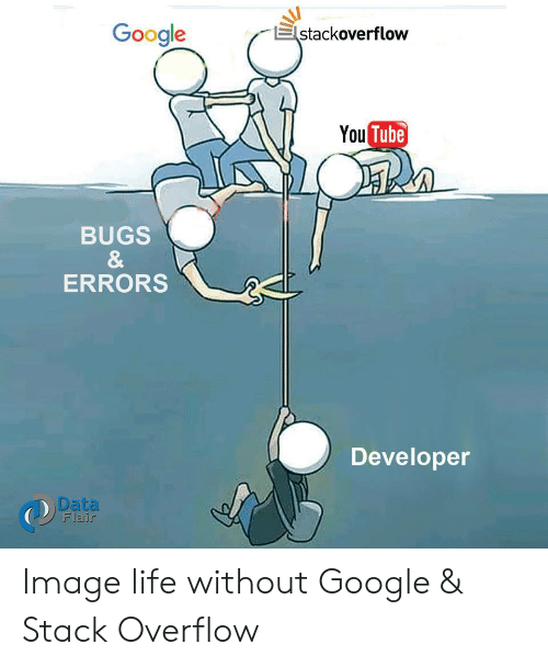 Google, Life, and Image: Google  stackoverflow  You Tube  BUGS  &  ERRORS  Developer  Data  Flair Image life without Google & Stack Overflow