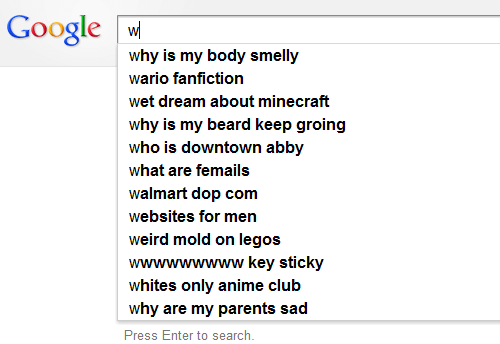 Legos: Google w  why is my body smelly  wario fanfiction  wet dream about minecraft  why is my beard keep groing  who is downtown abby  what are femails  walmart dop com  websites for men  weird mold on legos  wwwwwwwww key sticky  whites only anime club  why are my parents sad  Press Enter to search.