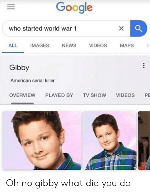 Google, News, and Videos: Google  who started world war 1  VIDEOS  ALL  IMAGES  NEWS  MAPS  Gibby  American serial killer  P  OVERVIEW  TV SHOW  VIDEOS  PLAYED BY Oh no gibby what did you do