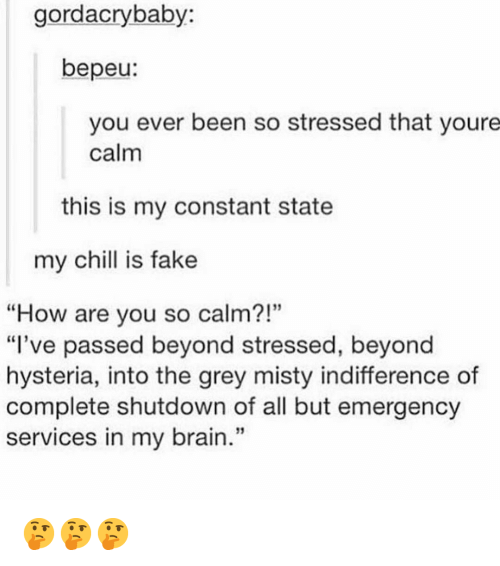 """Chill, Fake, and Memes: gordacrybaby:  bepeu:  you ever been so stressed that youre  calm  this is my constant state  my chill is fake  """"How are you so calm?!""""  """"I've passed beyond stressed, beyond  hysteria, into the grey misty indifference of  complete shutdown of all but emergency  services in my brain.""""  95  13 🤔🤔🤔"""
