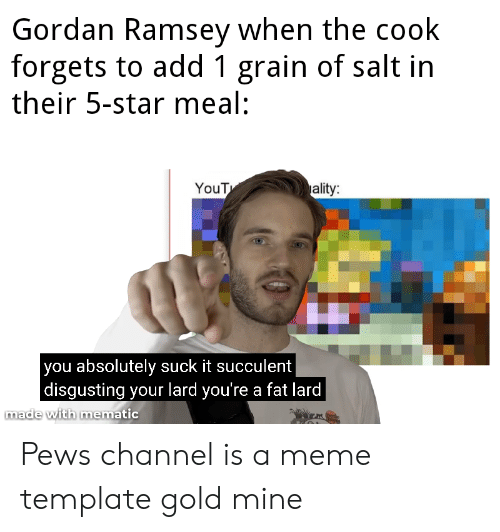 Meme, Star, and Yout: Gordan Ramsey when the cook  forgets to add 1 grain of salt in  their 5-star meal:  ality:  YouT  you absolutely suck it succulent  |disgusting your lard you're a fat lard  made with mematic Pews channel is a meme template gold mine