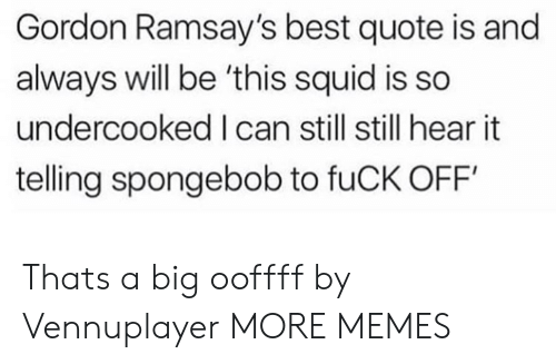 Dank, Memes, and SpongeBob: Gordon Ramsay's best quote is and  always will be 'this squid is so  undercooked I can still still hear it  telling spongebob to fuCK OFF Thats a big ooffff by Vennuplayer MORE MEMES
