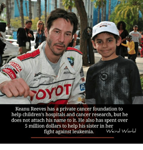 keanu reeve: GORKIDS  FOYOT  Keanu Reeves has a private cancer foundation to  help children's hospitals and cancer research, but he  does not attach his name it. also has spent over  5 million dollars to help his sister in her  fight against leukemia  Weird World