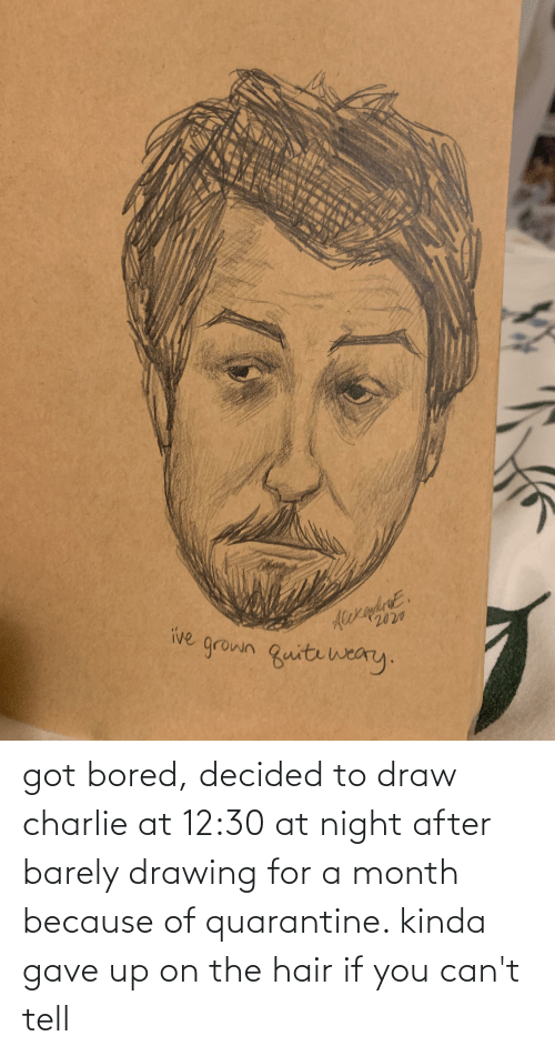 Charlie: got bored, decided to draw charlie at 12:30 at night after barely drawing for a month because of quarantine. kinda gave up on the hair if you can't tell