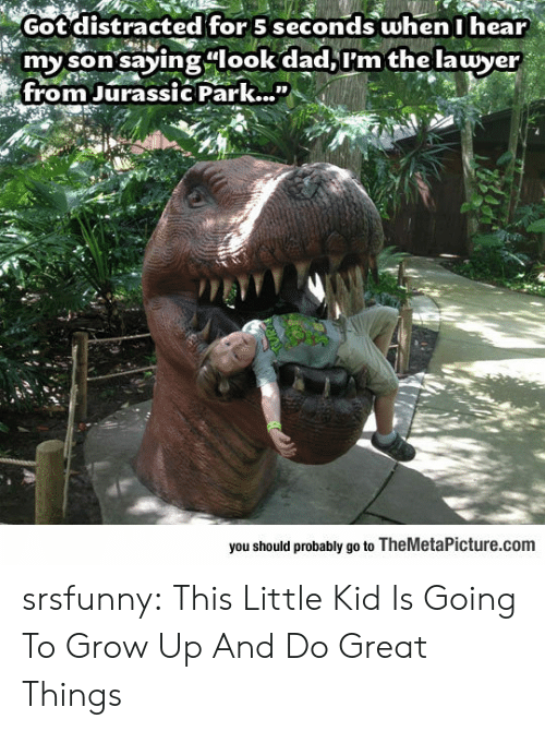 """Look Dad: Got distracted for 5 seconds when I hear  my son saying look dad,I'm the lawyer  from Jurassic Park...""""  0O  you should probably go to TheMetaPicture.com srsfunny:  This Little Kid Is Going To Grow Up And Do Great Things"""