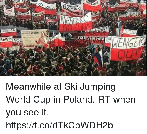 Memes, When You See It, and World Cup: GOT  MIEN  EGO  ar  EL.BAG  KAMILA STOCHA  SAWIN  SOE Meanwhile at Ski Jumping World Cup in Poland. RT when you see it. https://t.co/dTkCpWDH2b