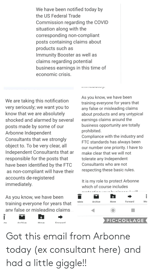 Email: Got this email from Arbonne today (ex consultant here) and had a little giggle!!