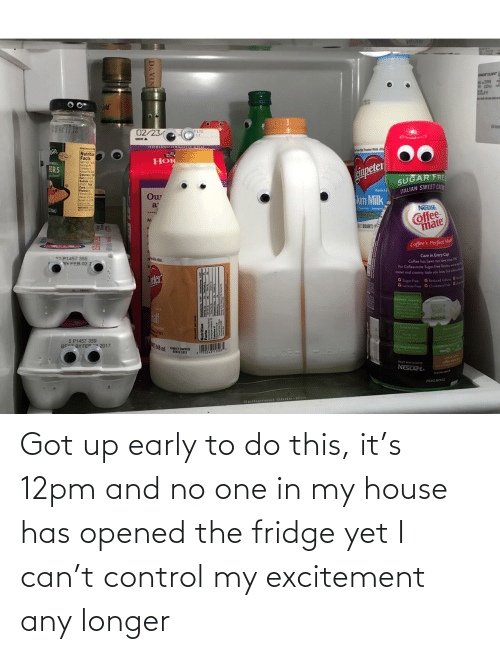 My House: Got up early to do this, it's 12pm and no one in my house has opened the fridge yet I can't control my excitement any longer
