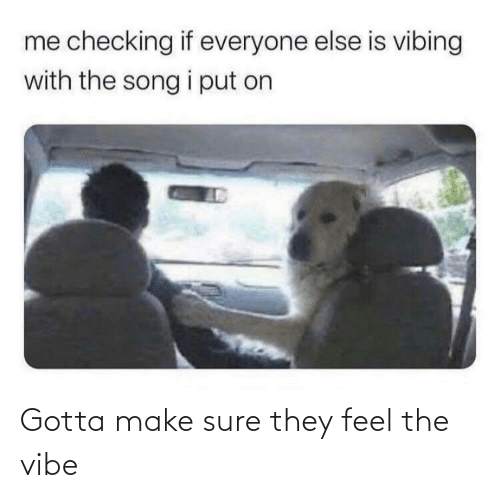 Gotta: Gotta make sure they feel the vibe