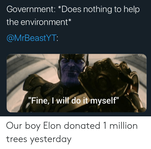 """environment: Government: *Does nothing to help  the environment*  @MrBeastYT:  """"Fine, I will do it myself"""" Our boy Elon donated 1 million trees yesterday"""