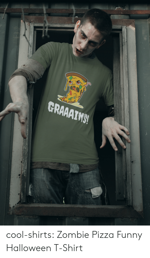Zombie: GRAAAIMS! cool-shirts:    Zombie Pizza Funny Halloween T-Shirt