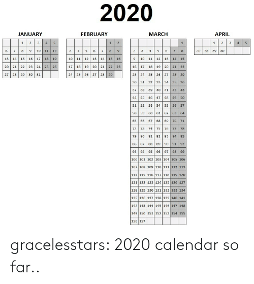 Far: gracelesstars: 2020 calendar so far..
