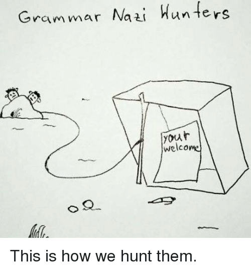 grammar nazi: Grammar Nazi  Hunters  your  welcome This is how we hunt them.