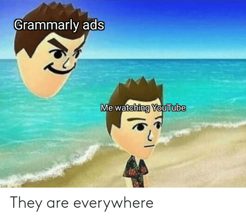 youtube.com, They, and Ads: Grammarly ads  Me watching YouTube They are everywhere