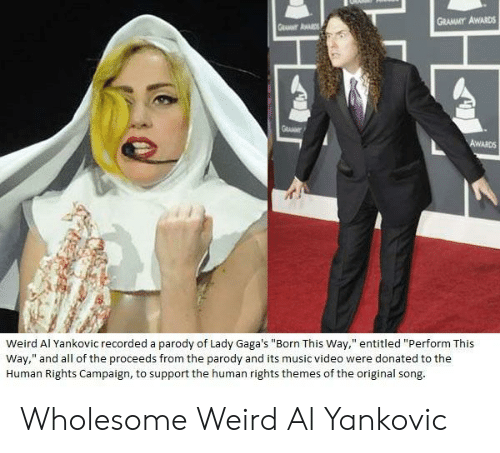 """Campaigner: GRAMMY AWARDS  Weird Al Yankovic recorded a parody of Lady Gaga's """"Born This Way,"""" entitled """"Perform This  Way,"""" and all of the proceeds from the parody and its music video were donated to the  Human Rights Campaign, to support the human rights themes of the original song Wholesome Weird Al Yankovic"""
