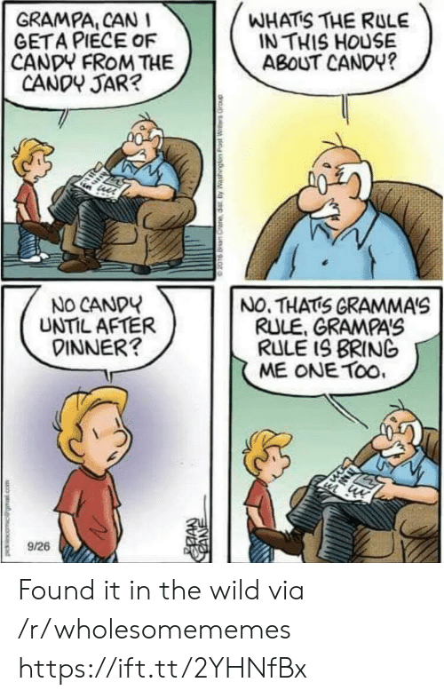In This House: GRAMPA, CAN  GETA PIECE OF  CANDY FROM THE  CANDY JAR?  WHATS THE RULE  IN THIS HOUSE  ABOUT CANDY?  NO CANDY  UNTIL AFTER  DINNER?  NO. THATS GRAMMA'S  RULE, GRAMPA'S  RULE IS BRING  ME ONE TOo  9/26  CANE Found it in the wild via /r/wholesomememes https://ift.tt/2YHNfBx