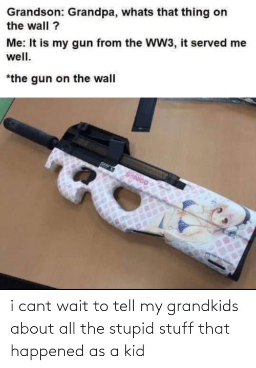 Stupid Stuff: Grandson: Grandpa, whats that thing on  the wall ?  Me: It is my gun from the WW3, it served me  well.  *the gun on the wall  SONICO i cant wait to tell my grandkids about all the stupid stuff that happened as a kid