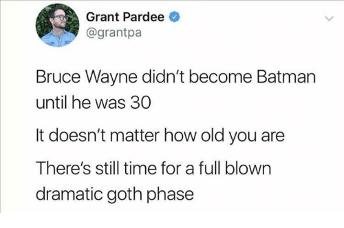 bruce wayne: Grant Pardee  @grantpa  Bruce Wayne didn't become Batman  until he was 30  It doesn't matter how old you are  There's still time for a full blown  dramatic goth phase